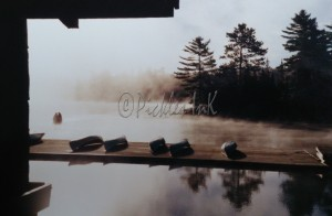 Canoing docks in mist (2)