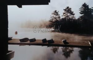 Canoing docks in mist (2)