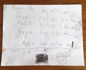 Bug clinic to-do list