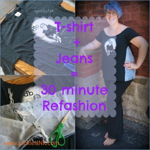 Too small t-shirt + old ripped jeans = simple 30 minute refashion #DIY www.picklesINK.com
