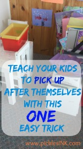 Teach your kids to pick up after themselves with this ONE easy trick from www.picklesINK.com #parenting #organizing