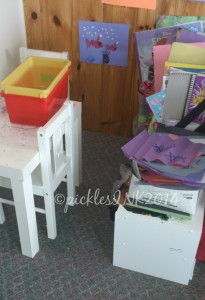 Kids art station - all their art supplies in private corner for them to create.