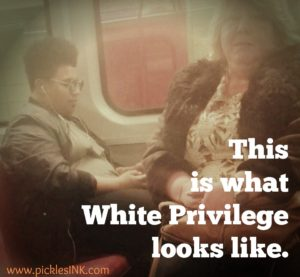 "Screengrab from the video posted by Jay Shylo with the words ""This is what White Privilege looks like"" overlaid."