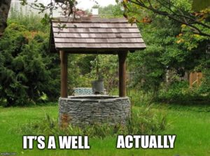 "Meme: Photo of a stone well with wooden roof; text overlaid reads ""It's a well actually."""